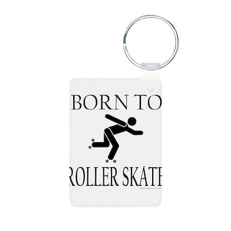 BORN TO ROLLER SKATE Aluminum Photo Keychain