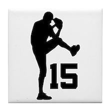 Baseball Uniform Number 15 Tile Coaster