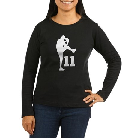 Baseball Uniform Number 11 Women's Long Sleeve Dar