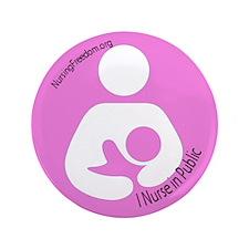 "I Nurse in Public PInk Logo 3.5"" Button"