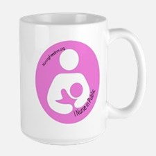 I Nurse in Public PInk Logo Large Mug