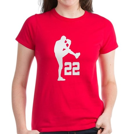 Baseball Uniform Number 22 Women's Dark T-Shirt