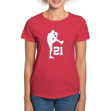 Baseball Uniform Number 21 Women's Dark T-Shirt