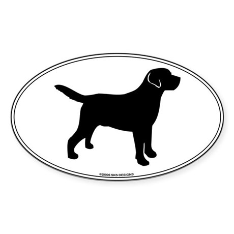 Black Lab Outline Sticker (Oval)