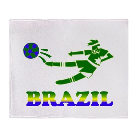 Brazil Soccer Player Throw Blanket