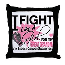 Fight Like A Girl Breast Cancer Throw Pillow