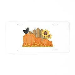 Autumn Pumpkins Aluminum License Plate