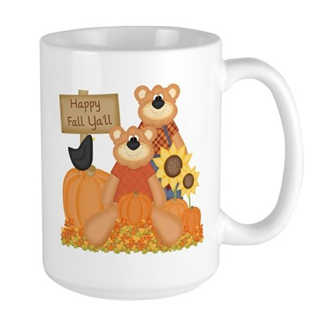 Cute Fall Bears Large Mug