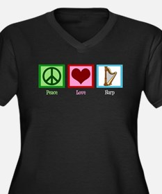 Peace Love Harp Women's Plus Size V-Neck Dark T-Sh