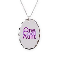 One Cool Aunt Necklace Oval Charm
