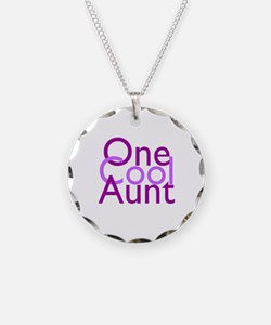 One Cool Aunt Necklace Circle Charm