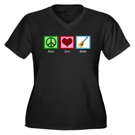 Peace Love Guitar Women's Plus Size V-Neck Dark T-
