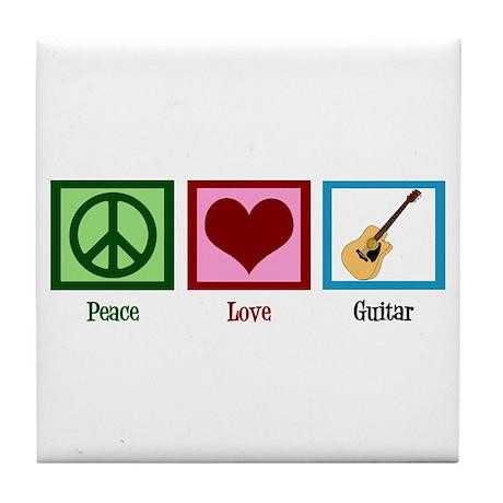 Peace Love Guitar Tile Coaster