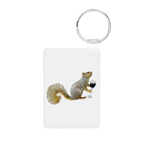 Squirrel with Wine Aluminum Photo Keychain