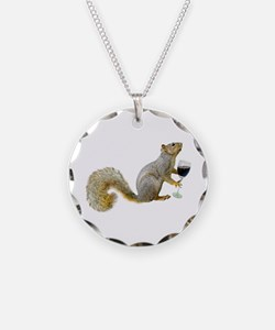 Squirrel with Wine Necklace