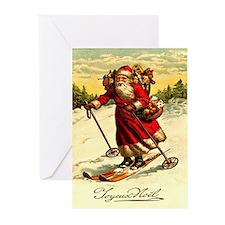 Santa 11 Vintage Christmas Greeting Cards (Pk of 2