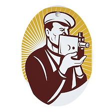 Cameraman vintage Ornament (Oval)