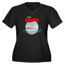 1961 Barnegat Women's Plus Size V-Neck Dark T-Shir