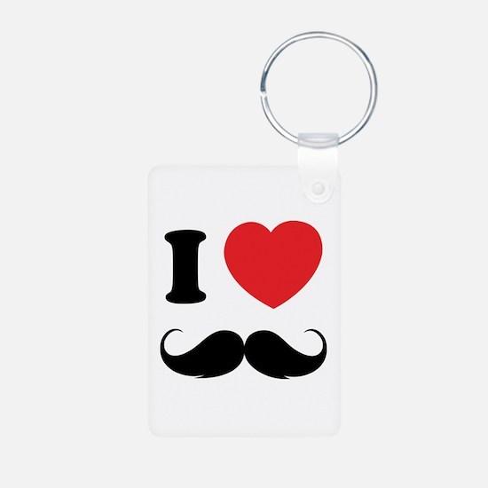 I love moustache Aluminum Photo Keychain