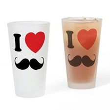 I love moustache Drinking Glass