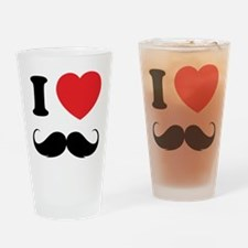 I love moustache Drinking Glass