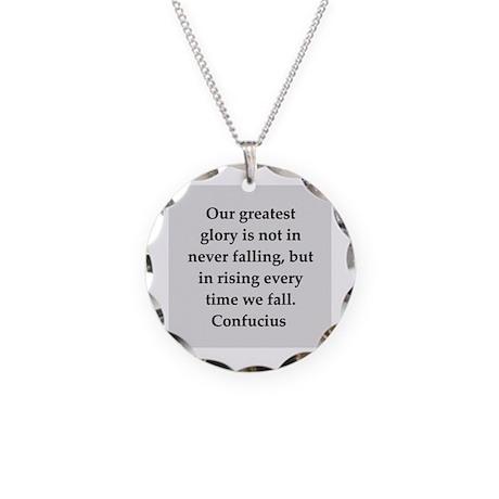confucius wisdom Necklace Circle Charm