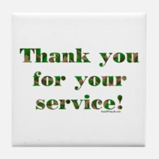 Camo Armed Forces Thank You Tile Coaster