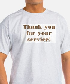Desert Camo Servicemen Thank You Ash Grey T-Shirt