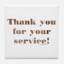 Desert Camo Servicemen Thank You Tile Coaster