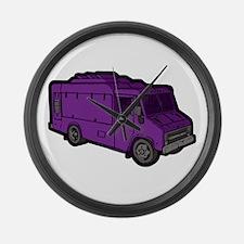 Food Truck: Basic (Purple) Large Wall Clock