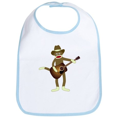Sock Monkey Country Music Baby Bib