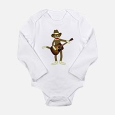 Sock Monkey Country Music Long Slv Baby Bodysuit