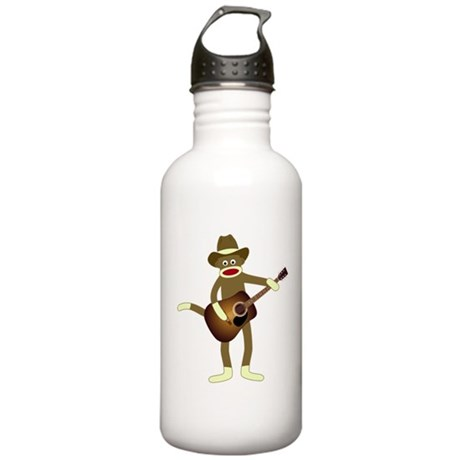 Sock Monkey Country Music Stainless Water Bottle