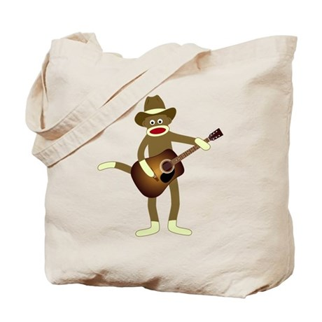 Sock Monkey Country Music Tote Bag