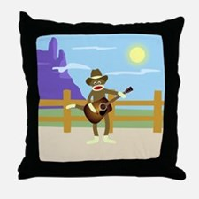Sock Monkey Country Music Throw Pillow