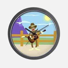 Sock Monkey Country Music Wall Clock