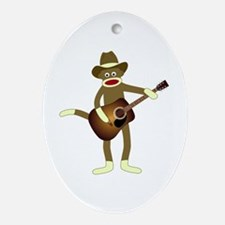 Sock Monkey Country Music Ornament (Oval)