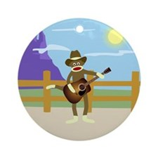 Sock Monkey Country Music Ornament (Round)