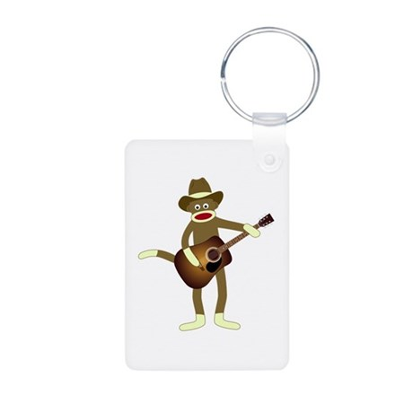 Sock Monkey Country Music Aluminum Photo Keychain