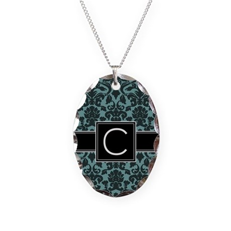 Monogram Letter C Necklace Oval Charm