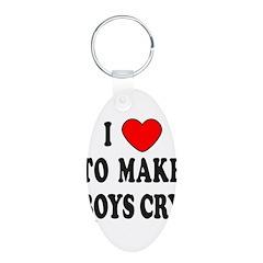 I MAKE BOYS CRY Aluminum Oval Keychain