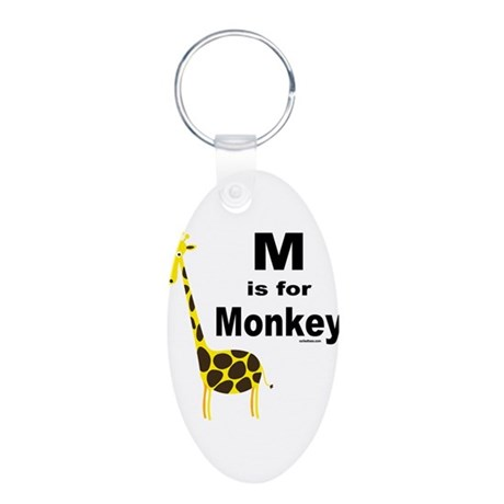 M IS FOR MONKEY Aluminum Oval Keychain