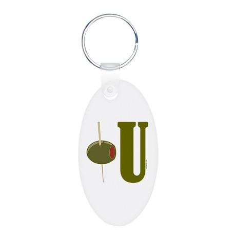 OLIVE U (I LOVE YOU) Aluminum Oval Keychain