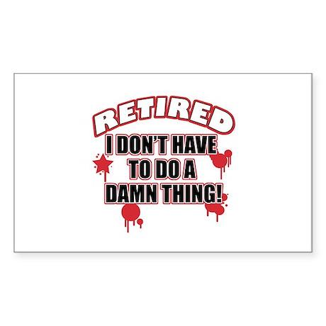 Funny retired Sticker (Rectangle)