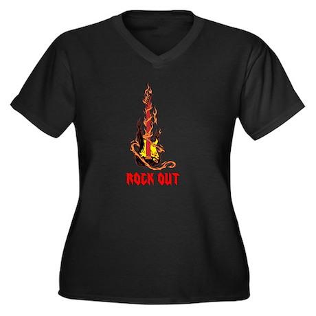 Rock Out Women's Plus Size V-Neck Dark T-Shirt