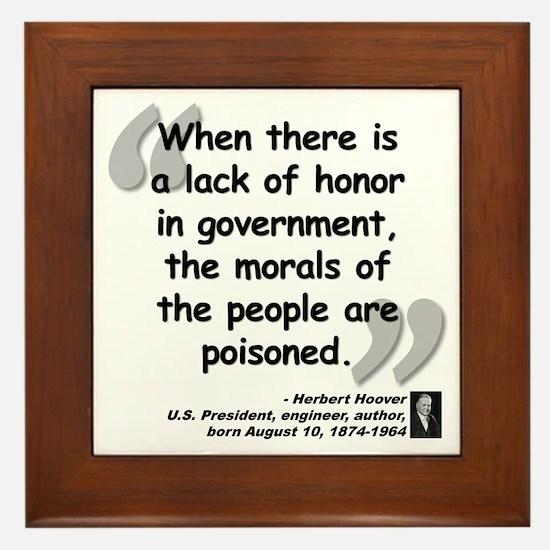 Hoover Morals Quote Framed Tile