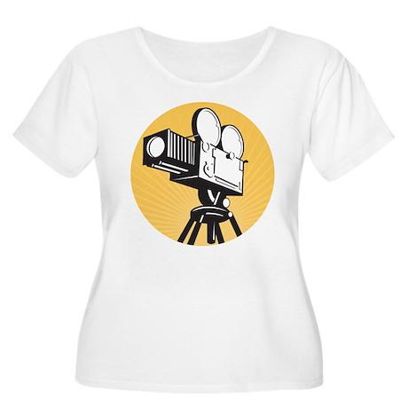 vintage movie camera Women's Plus Size Scoop Neck