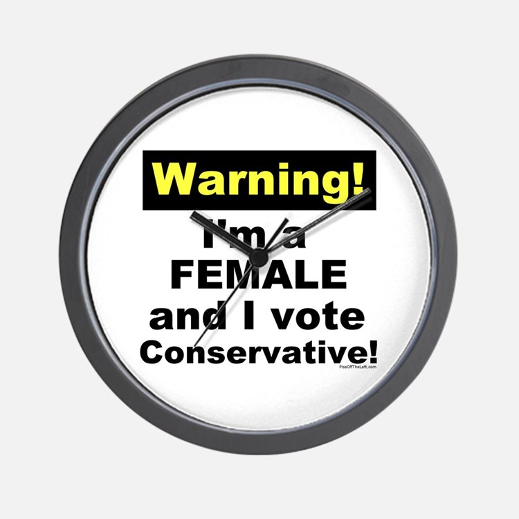 Warning! Female Conservative Wall Clock