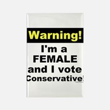 Warning! Female Conservative Rectangle Magnet