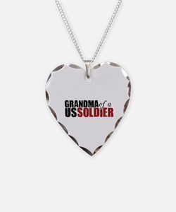 Grandma of a US Soldier- Necklace Heart Charm